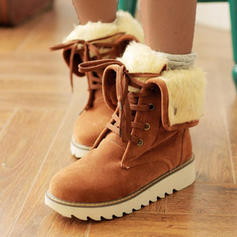 Women's Suede Flat Heel Mid-Calf Boots Snow Boots With Lace-up shoes