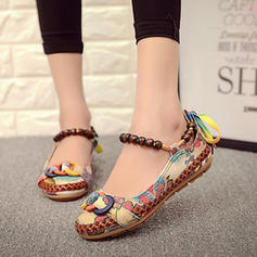 Frauen PU Flascher Absatz Flache Schuhe mit Perlstickerei Schuhe