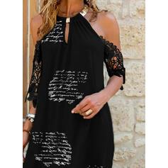 Lace/Print/Letter 1/2 Sleeves Shift Above Knee Elegant Tunic Dresses