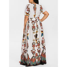 Print/Floral Short Sleeves A-line Party/Boho/Vacation/Plus Size Maxi Dresses
