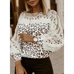 Lace Leopard Round Neck Casual Sweaters