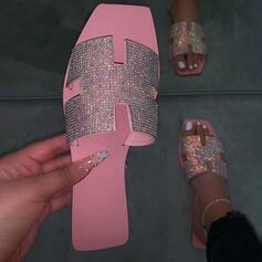 ПУ Низька підошва взуття на короткій шпильці Тапочки з Сіяючі камені взуття