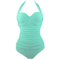 Solid Color String Halter Cute Plus Size One-piece Swimsuits