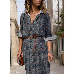 Print Long Sleeves A-line Shirt Casual Maxi Dresses