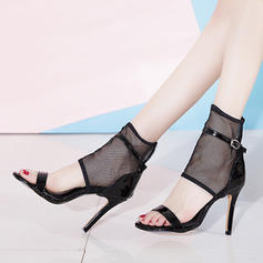 Women's Patent Leather Mesh Stiletto Heel Sandals Pumps With Hollow-out shoes
