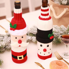 Merry Christmas Snowman Santa Knit Bottle Cover