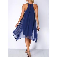 Solid Sleeveless Sheath/Shift Knee Length Party Dresses