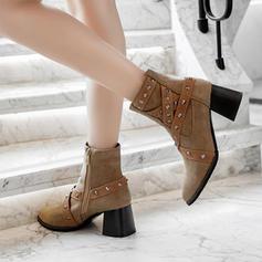 Mulheres Couro Salto robusto Bombas Botas Bota no tornozelo com Rivet sapatos