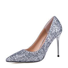 Donna Glitter scintillanti Tacco a spillo Stiletto Punta chiusa scarpe