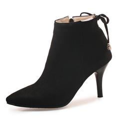 Frauen Veloursleder Stöckel Absatz Absatzschuhe Geschlossene Zehe Stiefel Stiefelette mit Bowknot Reißverschluss Schuhe