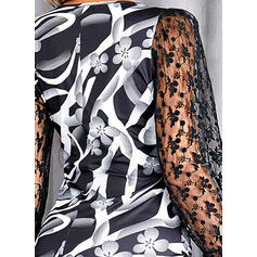 Impresión Encaje Manga Larga Manga de soplo Cubierta Sobre la Rodilla Elegante Vestidos