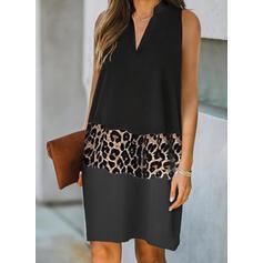 Bloque de color/Leopardo Sin mangas Tendencia Hasta la Rodilla Elegante Vestidos
