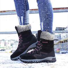 Women's Suede Low Heel Mid-Calf Boots With Lace-up shoes