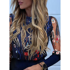 Embroidery Floral Round Neck Long Sleeves Casual Elegant Blouses