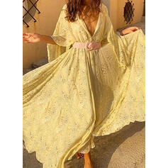 Print 3/4 Sleeves/Batwing Sleeves A-line Skater Casual/Vacation Maxi Dresses