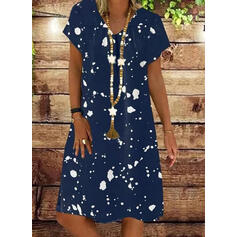 Print Short Sleeves Shift Knee Length Casual/Vacation Tunic Dresses
