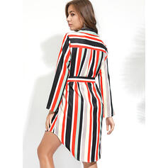 Striped 3/4 Sleeves A-line Knee Length Casual/Vacation Dresses