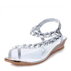 Women's PU Wedge Heel Sandals Wedges Peep Toe With Crystal shoes