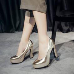 De mujer PU Tacón ancho Salón con Rhinestone zapatos
