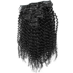 4A Non remy Kinky Curly Human Hair Clip in Hair Extensions 7pcs 70g