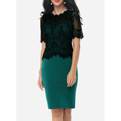 Lace Short Sleeves Sheath Knee Length Party/Elegant Dresses