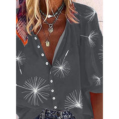 Impresión Cuello en V Mangas 3/4 Con Botones Casual Blusas