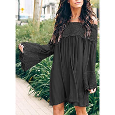 Lace/Solid/Patchwork Long Sleeves/Flare Sleeves Shift Knee Length Casual Dresses