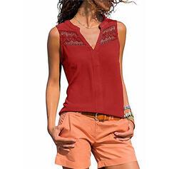 Sólido Renda Decote em V Sem Mangas Casual Camisetas regata