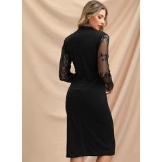 Lace/Sequins Long Sleeves Bodycon Knee Length Little Black/Party/Elegant Pencil Dresses