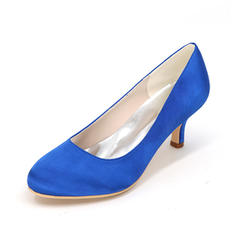Women's Satin Stiletto Heel Closed Toe Pumps