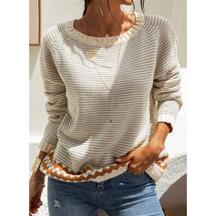 Striped Chunky knit Round Neck Casual Sweaters