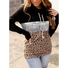 Color Block Leopard Sequins Long Sleeves Hoodie