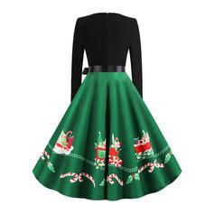 Print Long Sleeves A-line Knee Length Vintage/Christmas/Party/Elegant Dresses