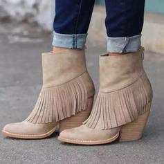 Frauen Veloursleder Stöckel Absatz Stämmiger Absatz Stiefelette mit Reißverschluss Quaste Schuhe