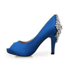 De mujer Ante Seda Tacón en cono Plataforma Encaje con Rhinestone zapatos