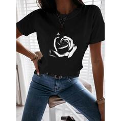 Floral Impresión Cuello Redondo Manga Corta Camisetas