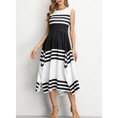 Striped Sleeveless A-line Asymmetrical Casual Dresses