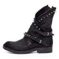 Femmes Similicuir Talon bas Bottes avec Rivet Boucle chaussures