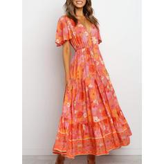 Print/Floral Short Sleeves A-line Casual/Boho/Vacation Midi Dresses