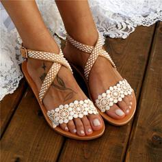 Women's Lace PU Flat Heel Sandals Peep Toe Slingbacks With Flower Crisscross shoes