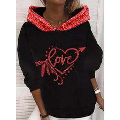 Sequins Figure Heart Long Sleeves Hoodie