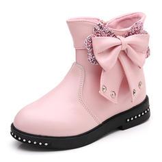 A menina de Toe rodada Fechados Bota no tornozelo imitação de couro Heel plana Sem salto Botas Sapatas do florista com Bowknot Zíper