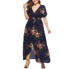 Estampado/Floral Manga Curta Evasê Assimétrico Casual/Tamanho positivo Vestidos