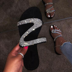 Women's PU Flat Heel Sandals Flats Peep Toe Slippers With Sequin shoes
