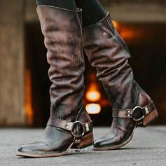 Frauen PU Stämmiger Absatz Kniehocher Stiefel mit Schnalle Schuhe