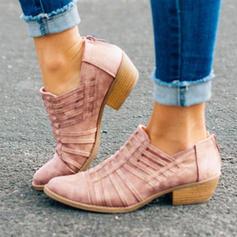 Femmes Cuir en microfibre Talon bas Escarpins avec Ouvertes chaussures