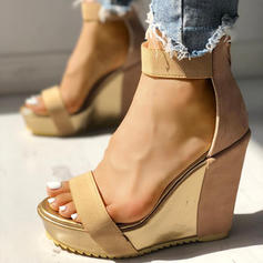 Women's PU Wedge Heel Sandals Peep Toe shoes