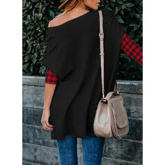 Color Block Sequins Round Neck Long Sleeves Casual Christmas Blouses