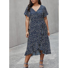 Print Short Sleeves A-line Casual/Plus Size Midi Dresses