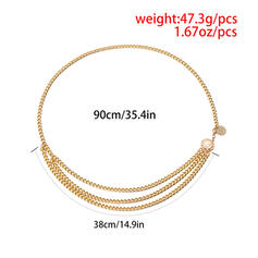 Fashionable Vintage Layered Alloy With Gold Plated Women's Ladies' Belts 1 PC